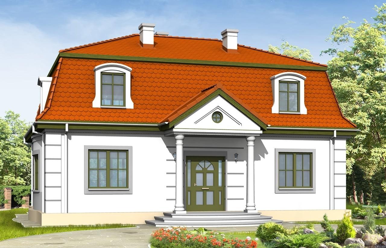 Projekt domu Retro - wizualizacja frontowa odbicie lustrzane