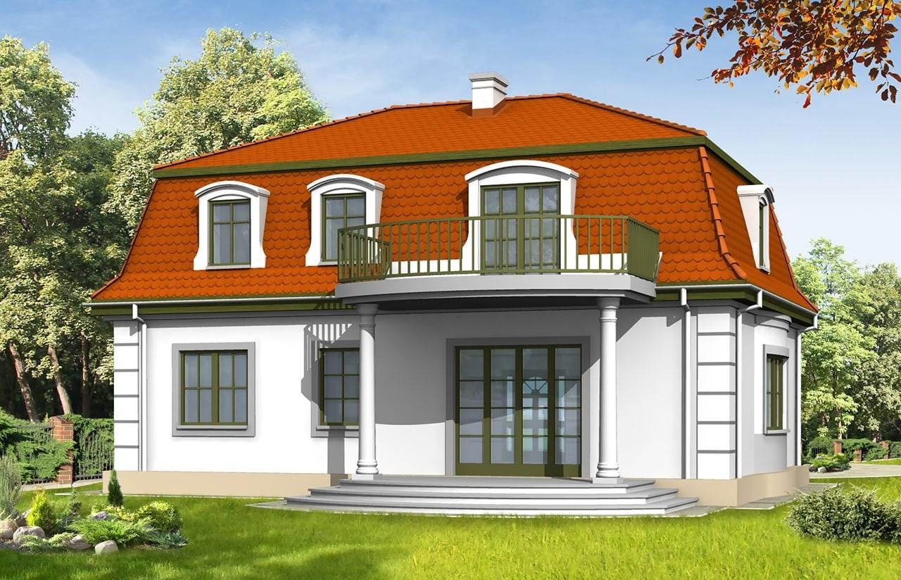 Projekt domu Retro - wizualizacja tylna odbicie lustrzane