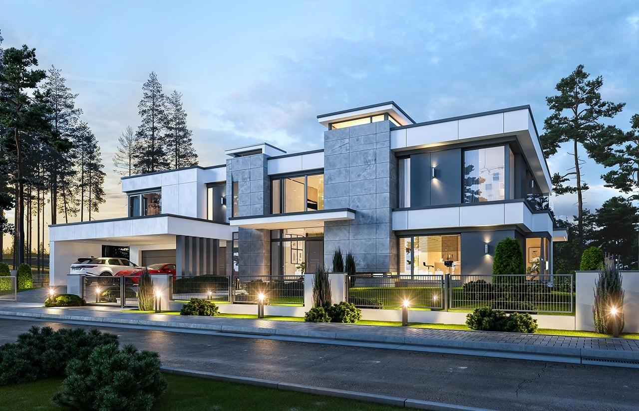 Projekt domu Rezydencja Floryda 2 - wizualizacja frontowa