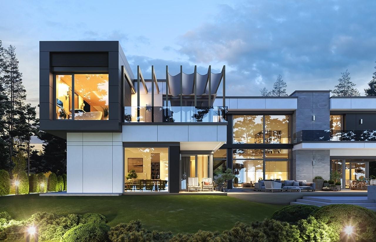 Projekt domu Rezydencja Floryda 2 - wizualizacja tylna odbicie lustrzane