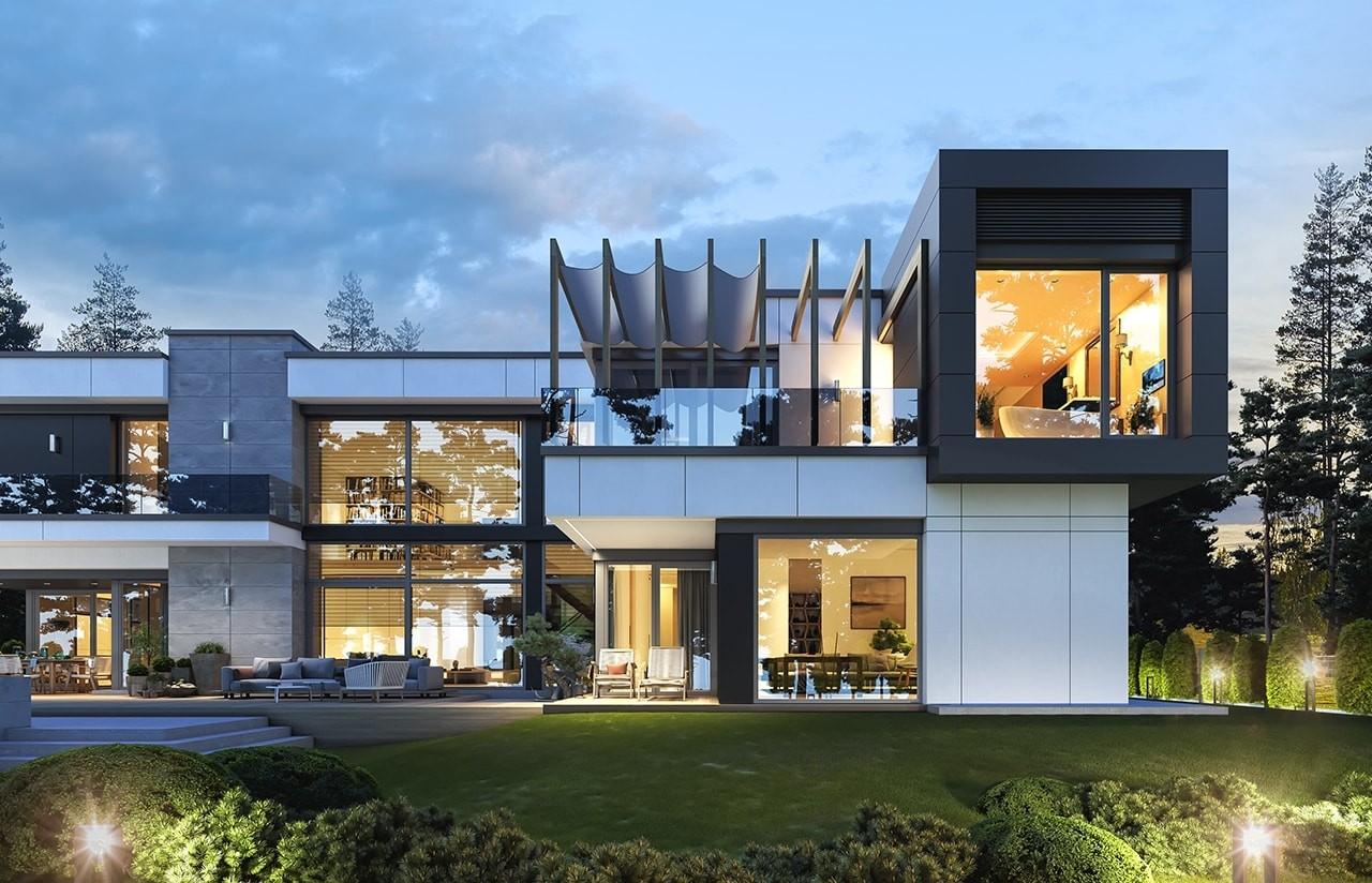 Projekt domu Rezydencja Floryda 2 - wizualizacja tylna
