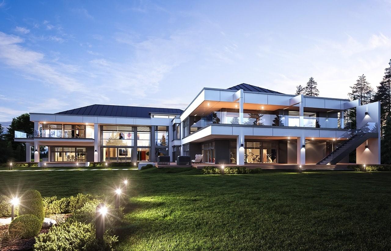 Projekt domu Rezydencja Floryda - wizualizacja tylna odbicie lustrzane