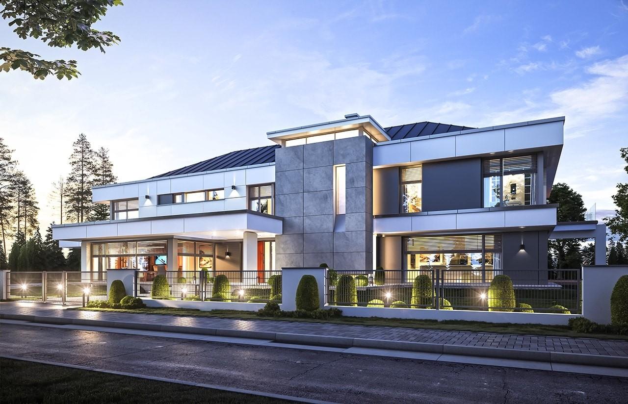 Projekt domu Rezydencja Floryda - wizualizacja frontowa odbicie lustrzane
