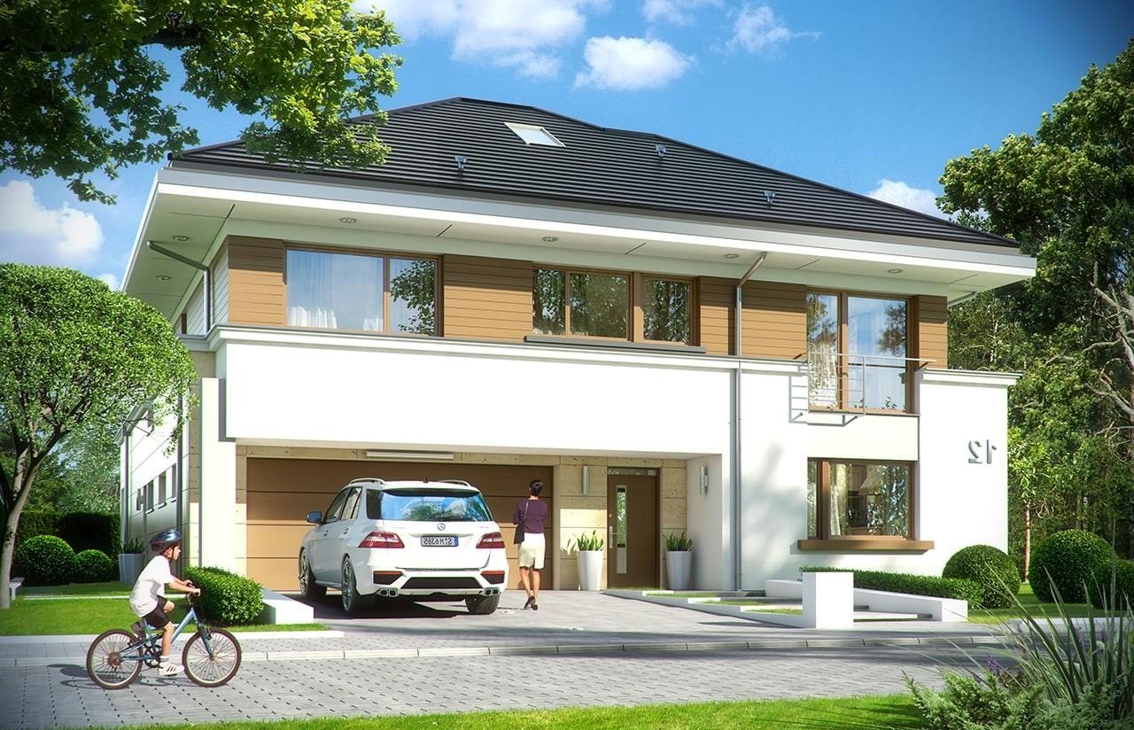 Projekt domu Rezydencja Leśna - wizualizacja frontowa odbicie lustrzane