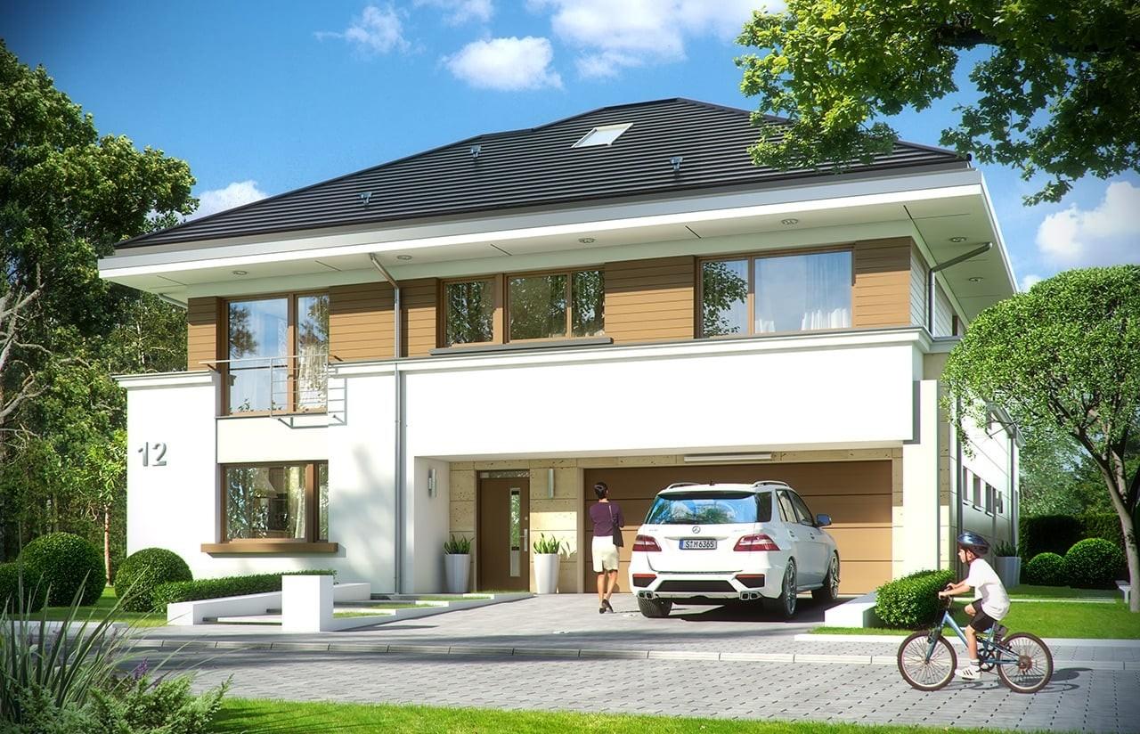 Projekt domu Rezydencja Leśna - wizualizacja frontowa