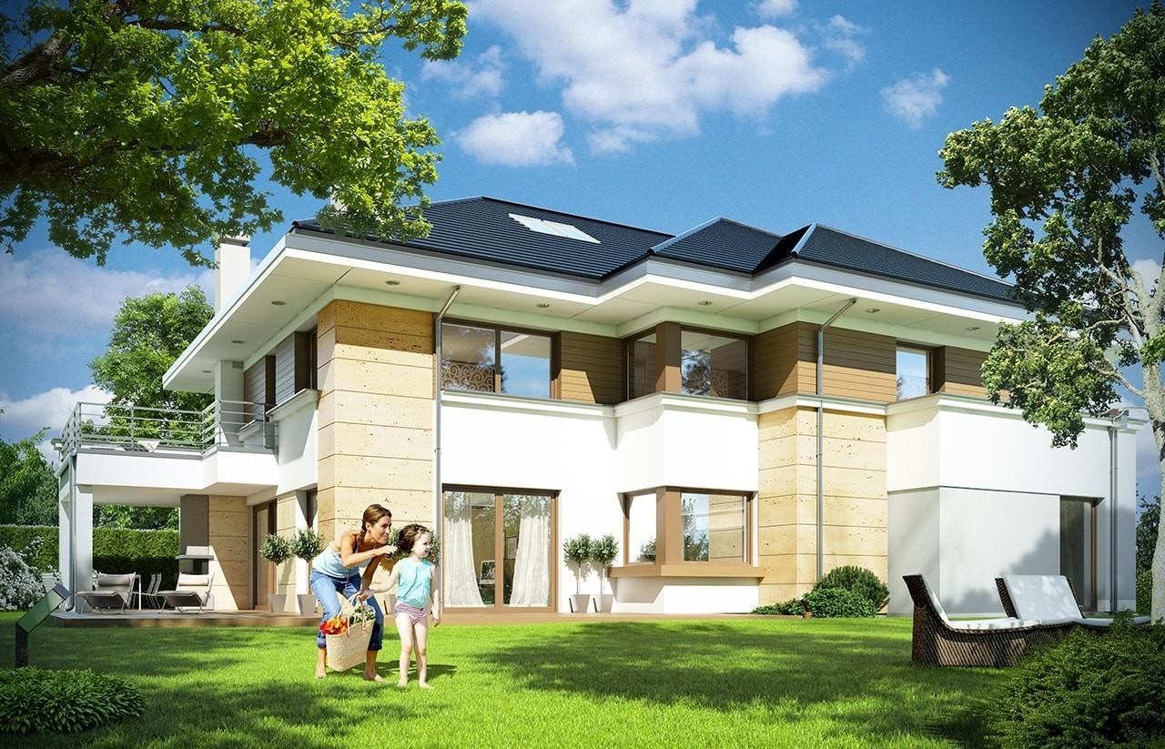 Projekt domu Rezydencja Leśna - wizualizacja tylna