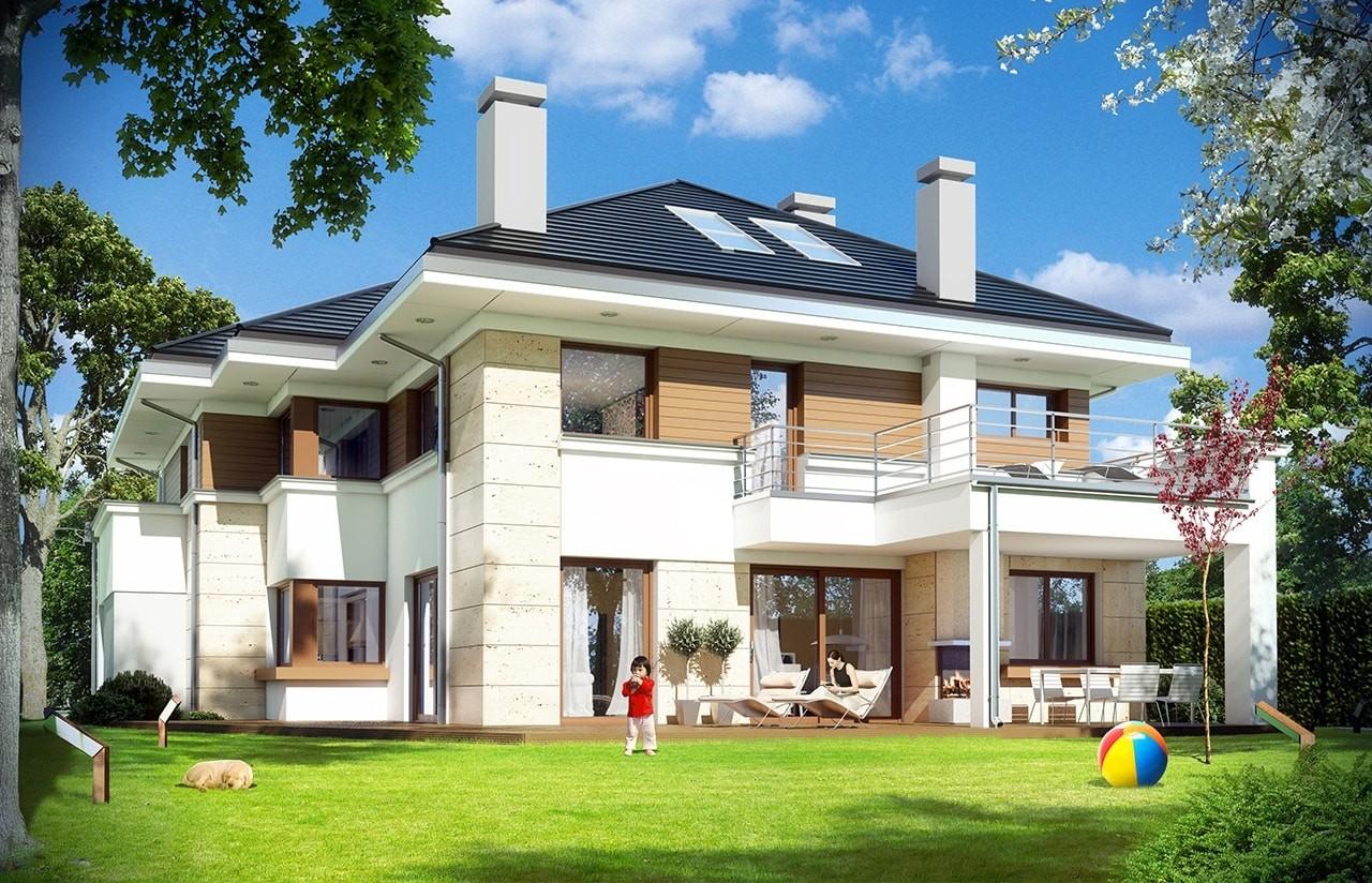 Projekt domu Rezydencja Leśna - wizualizacja tylna odbicie lustrzane