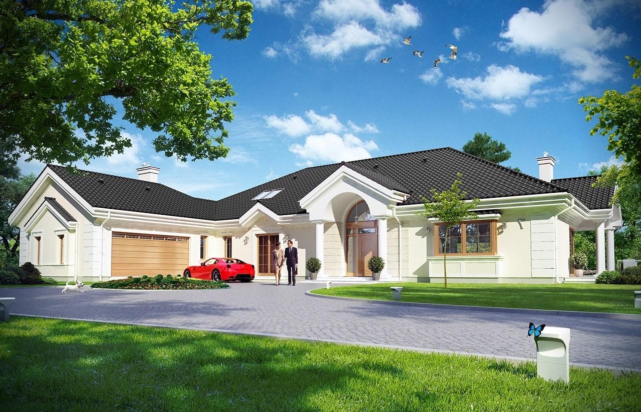Projekt domu Rezydencja Parkowa 2 - wizualizacja frontowa odbicie lustrzane