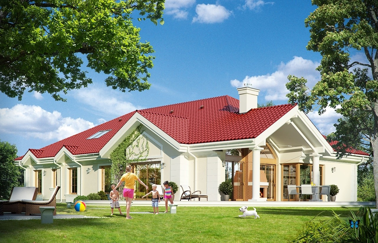 Projekt domu Rezydencja Parkowa 2 - wizualizacja tylna