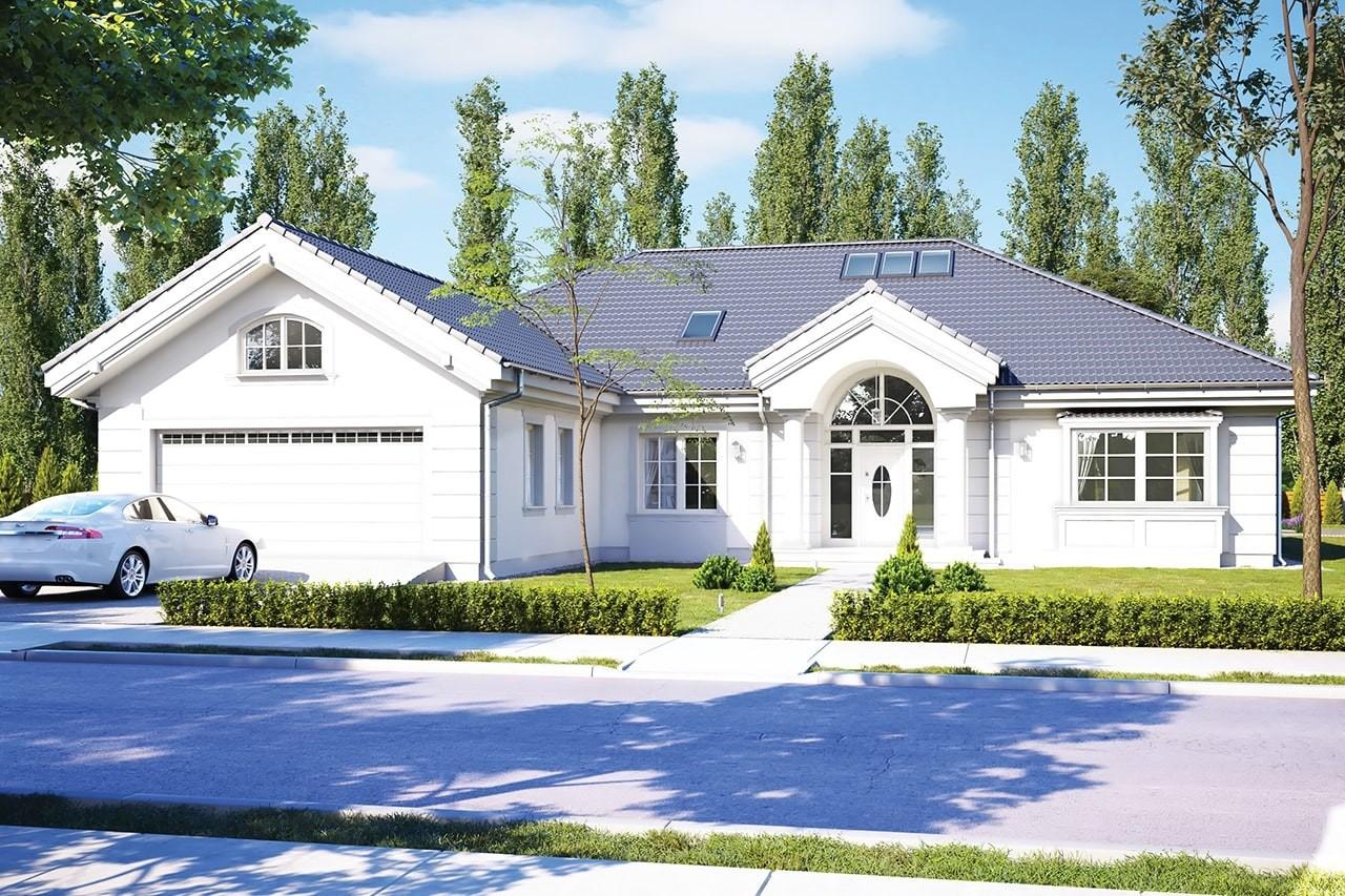 Projekt domu - Rezydencja Parkowa 3 C - wizualizacja frontowa odbicie lustrzane