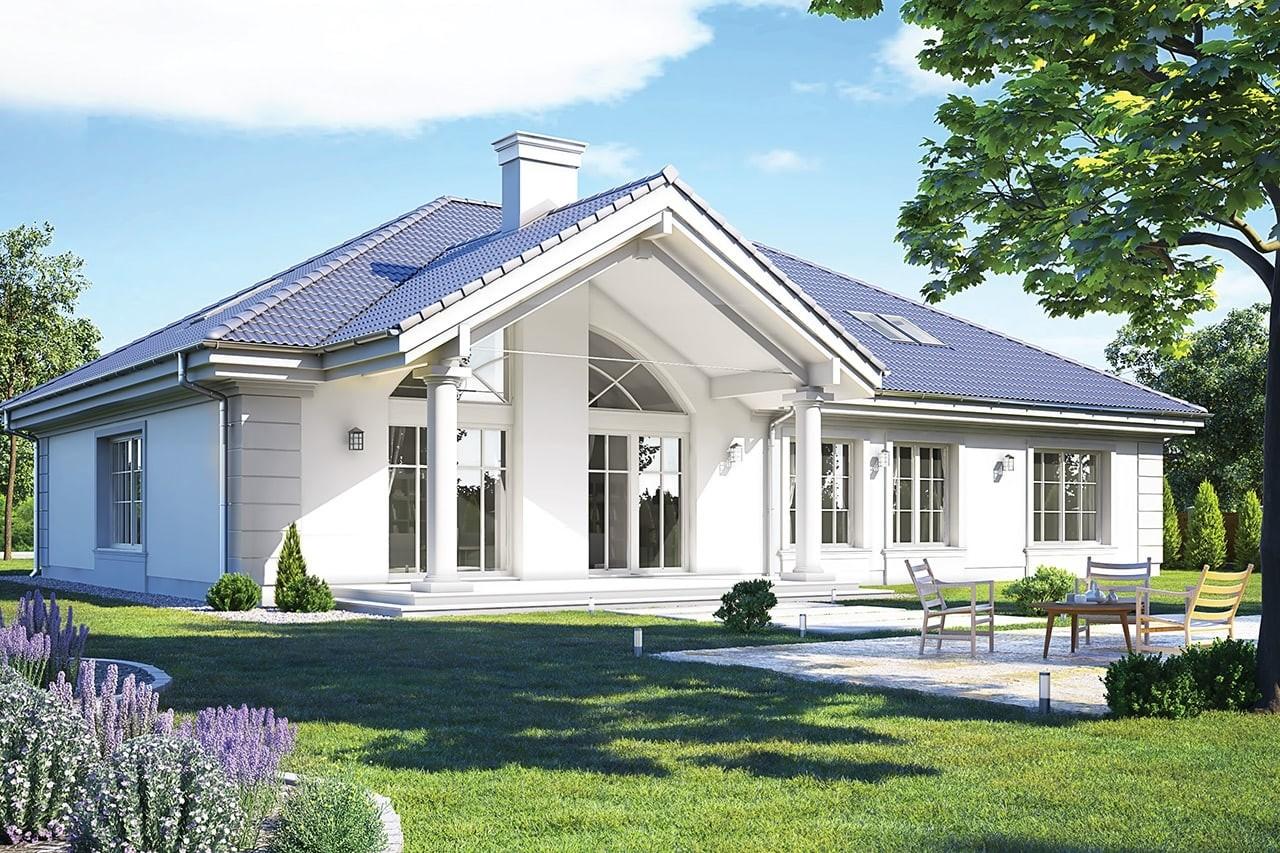 Projekt domu - Rezydencja Parkowa 3 C - wizualizacja tylna odbicie lustrzane