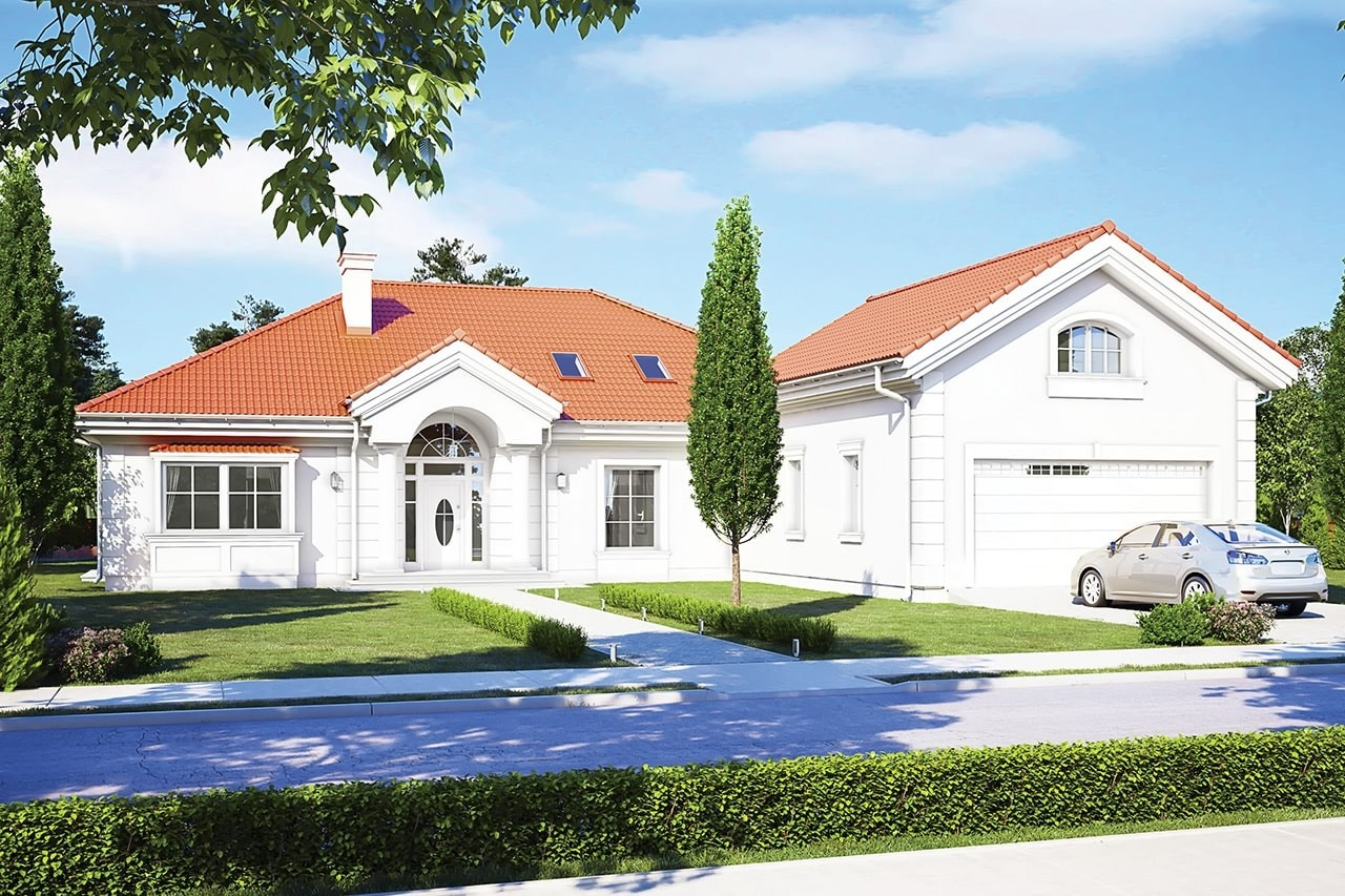 Projekt domu - Rezydencja Parkowa 3 D - wizualizacja frontowa odbicie lustrzane