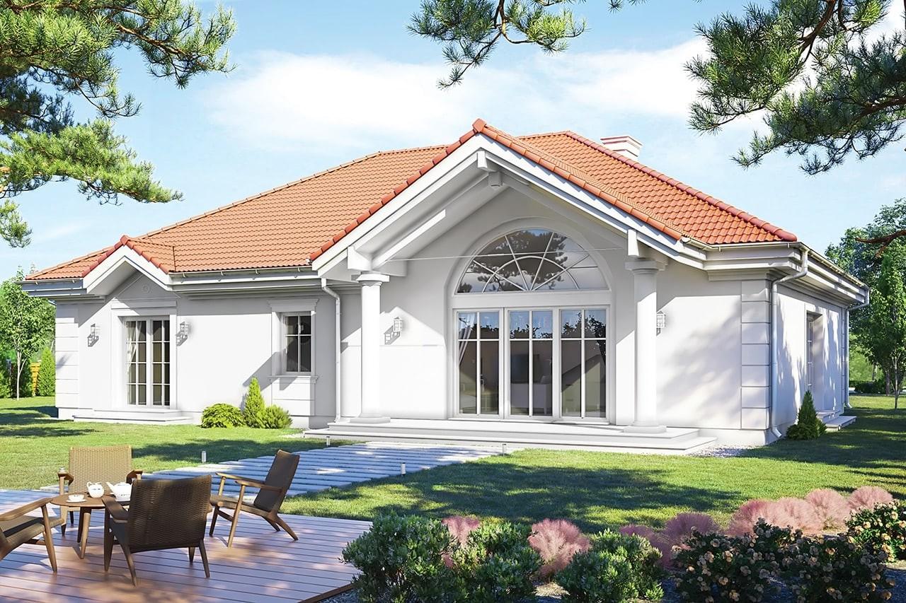 Projekt domu - Rezydencja Parkowa 3 D - wizualizacja tylna odbicie lustrzane