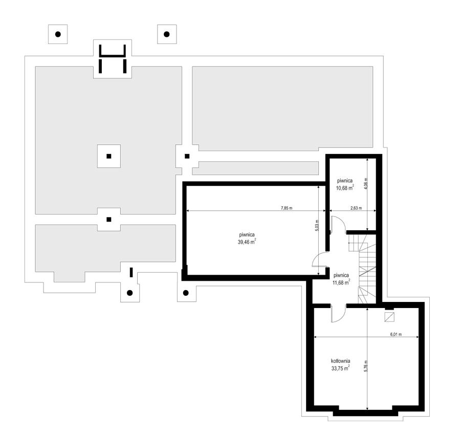 Rezydencja Parkowa 3 - rzut piwnicy odbicie lustrzane