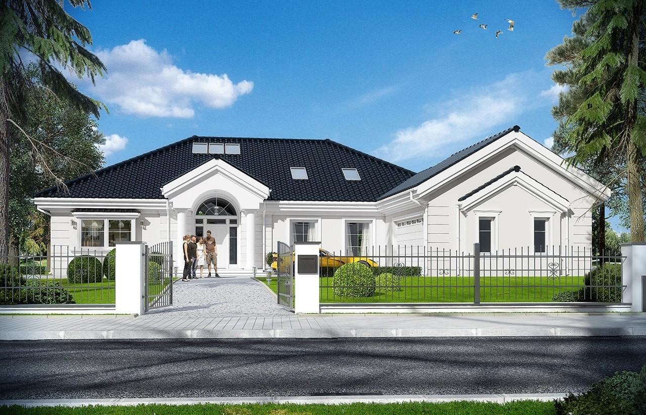 Projekt domu Rezydencja Parkowa 3 - wizualizacja frontowa odbicie lustrzane