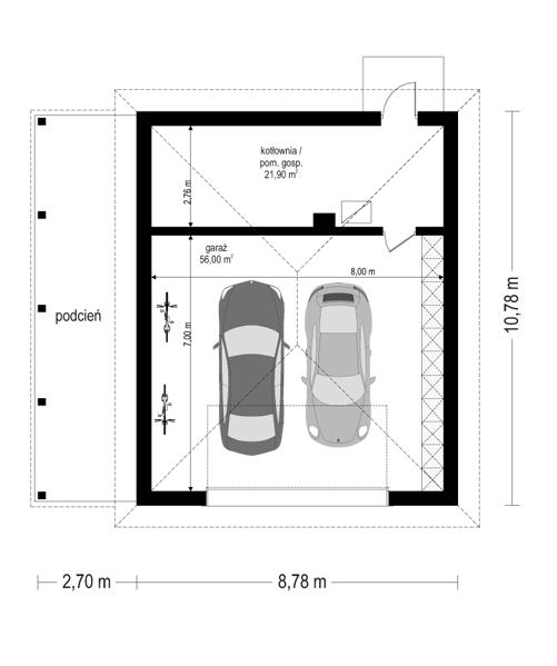 Rezydencja parkowa 4 - rzut garażu odbicie lustrzane
