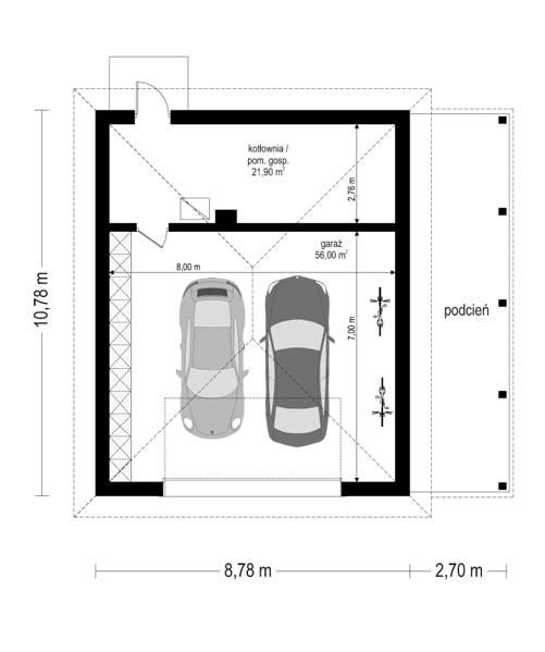 Rezydencja parkowa 4 - rzut garażu