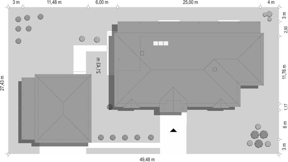 Rezydencja parkowa 4 - sytuacja z garażem odbicie lustrzane