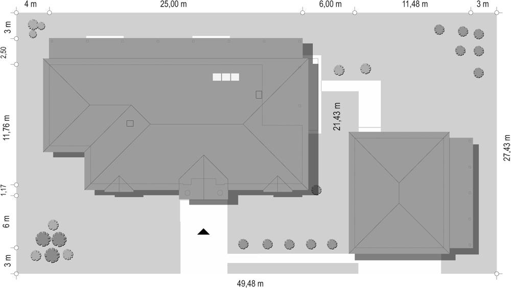 Rezydencja parkowa 4 - sytuacja z garażem