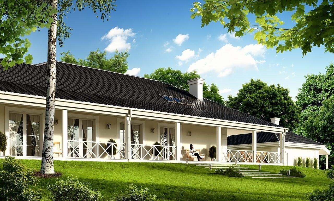 Projekt domu Rezydencja Parkowa 4 - wizualizacja tylna odbicie lustrzane