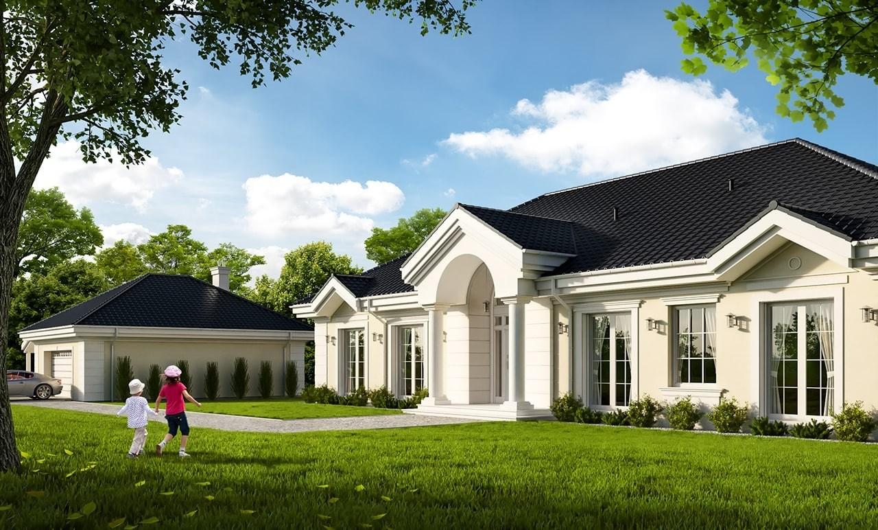 Projekt domu Rezydencja Parkowa 4 - wizualizacja frontowa odbicie lustrzane