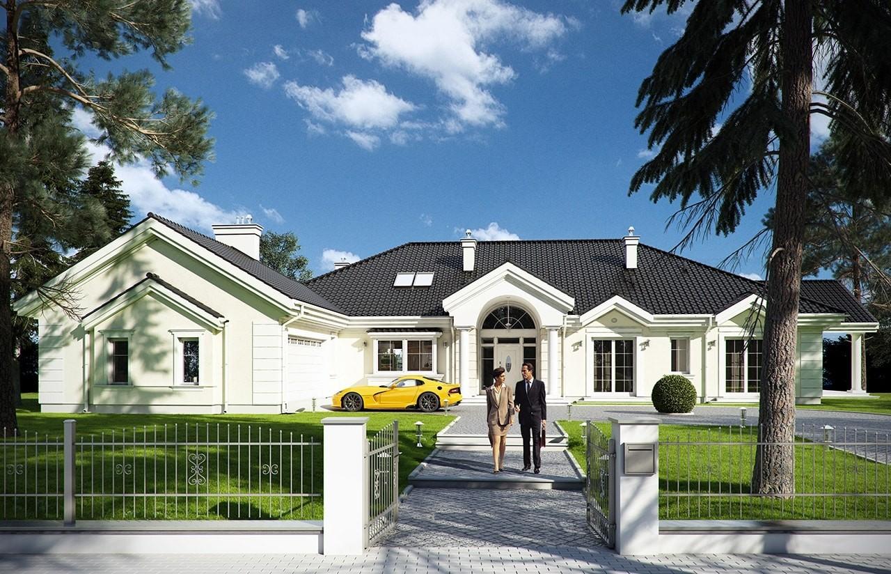 Projekt domu Rezydencja Parkowa - wizualizacja frontowa odbicie lustrzane