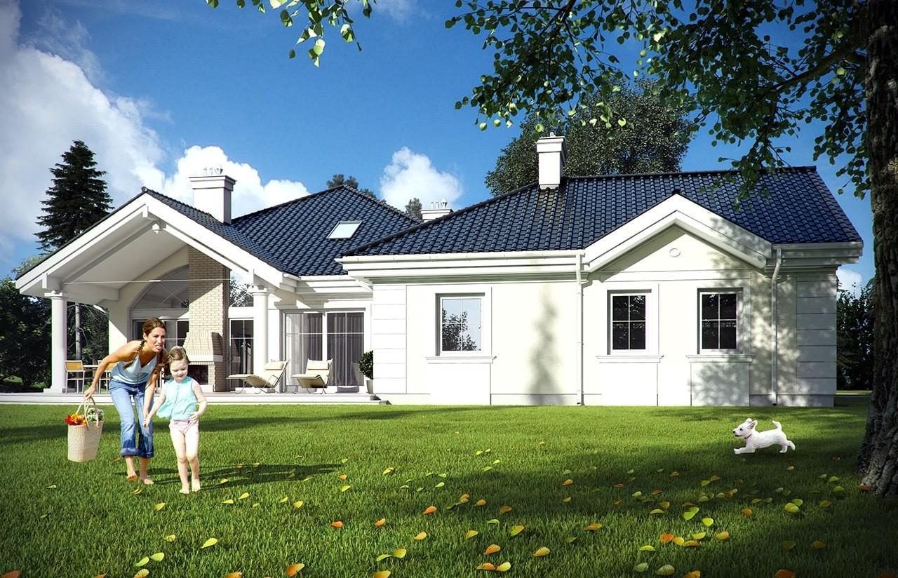 Projekt domu Rezydencja Parkowa - wizualizacja tylna odbicie lustrzane