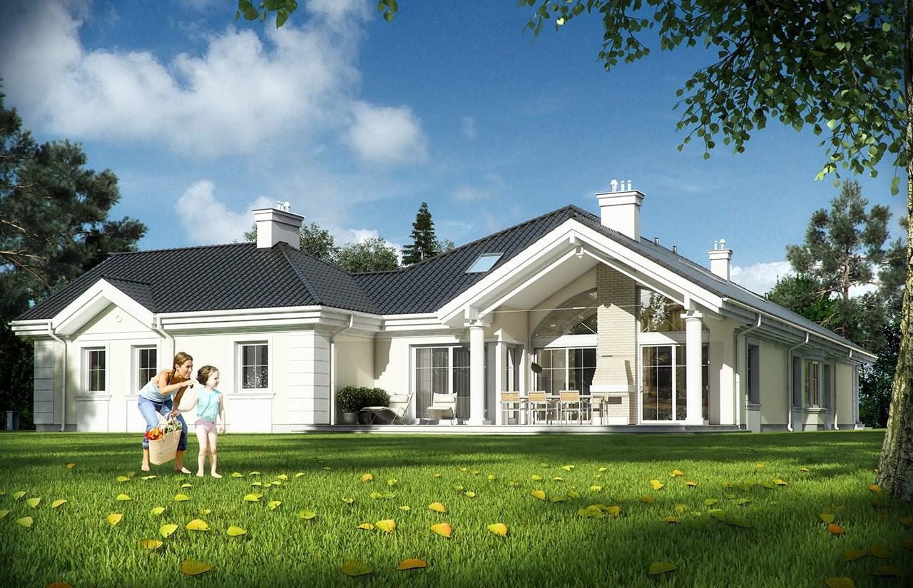 Projekt domu Rezydencja Parkowa - wizualizacja tylna