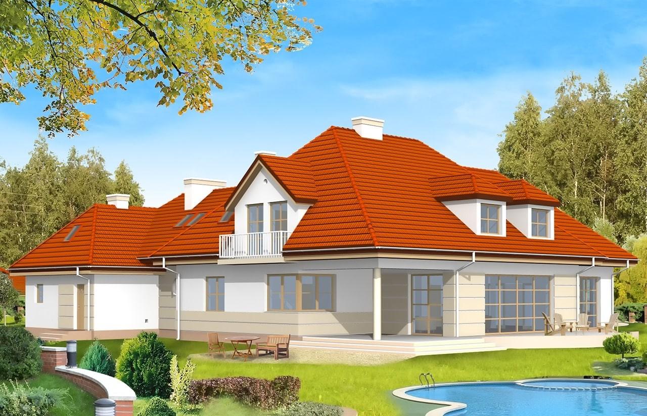 Projekt domu Rezydencja - wizualizacja tylna