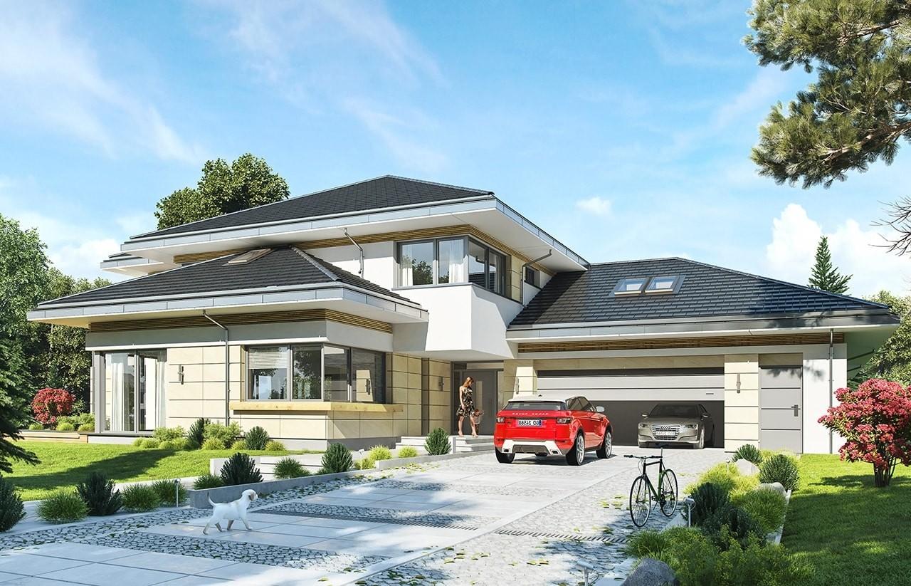 Projekt domu Rezydencja z widokiem - wizualizacja frontowa odbicie lustrzane