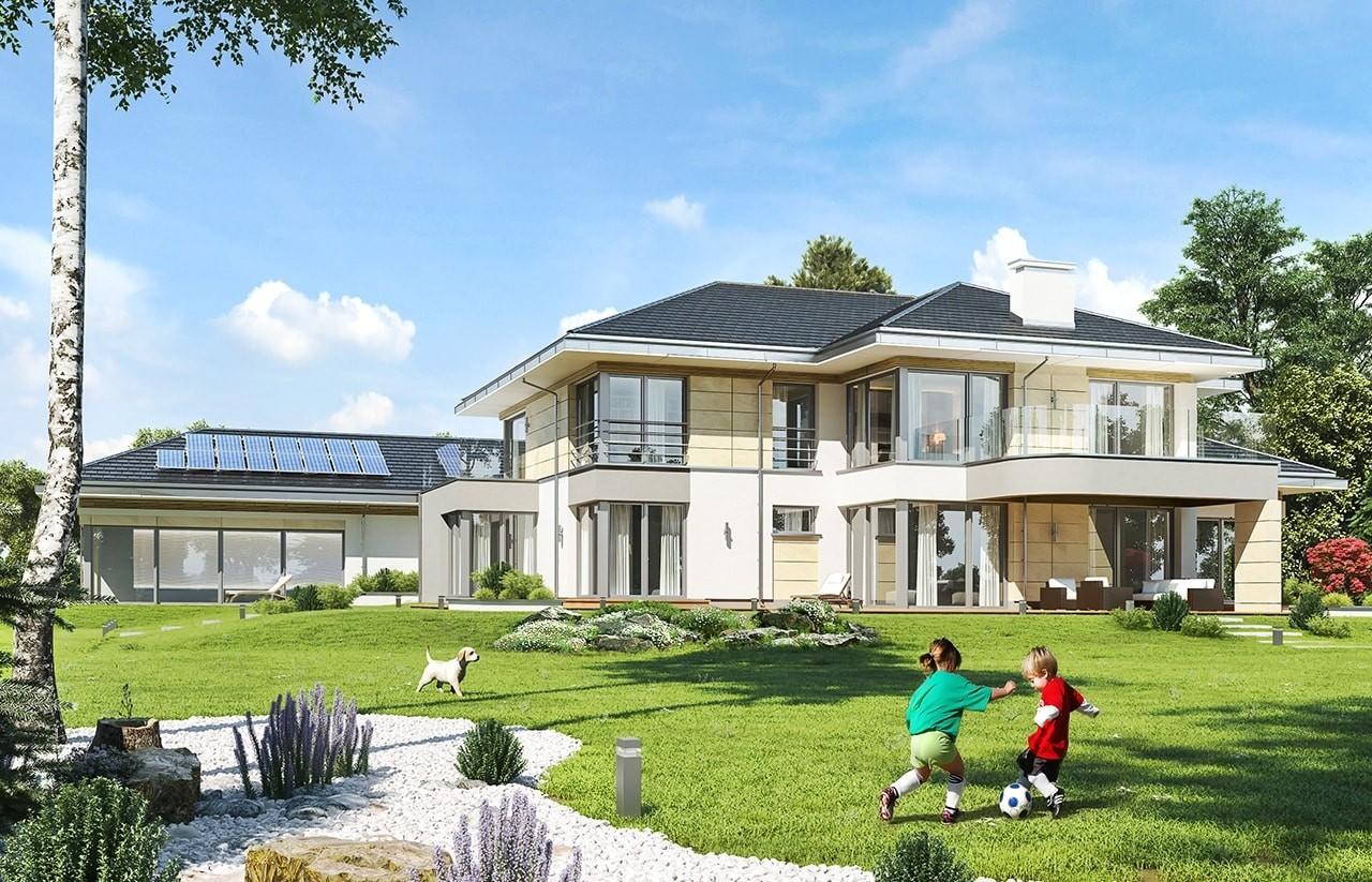 Projekt domu Rezydencja z widokiem - wizualizacja tylna odbicie lustrzane
