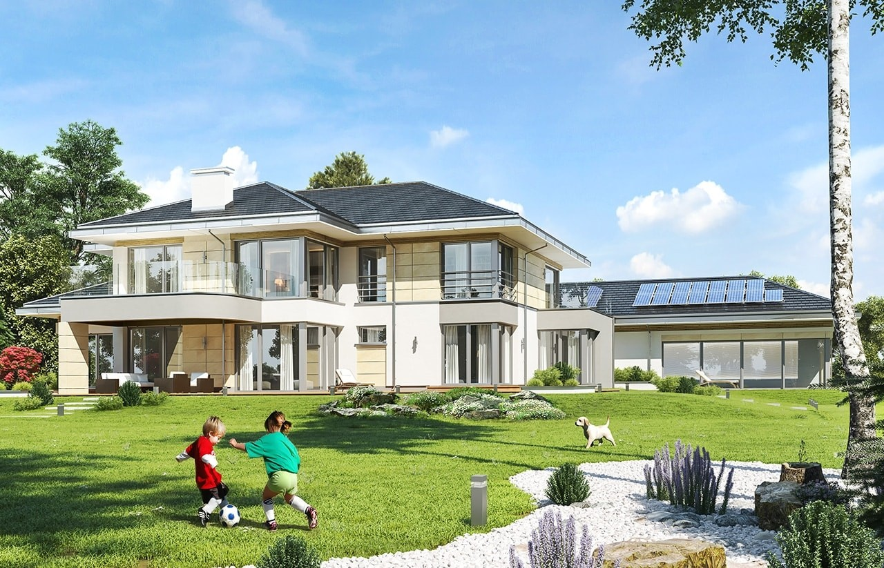 Projekt domu Rezydencja z widokiem - wizualizacja tylna