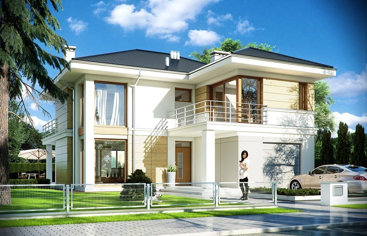 Projekt domu Riwiera 2 - wizualizacja frontowa odbicie lustrzane