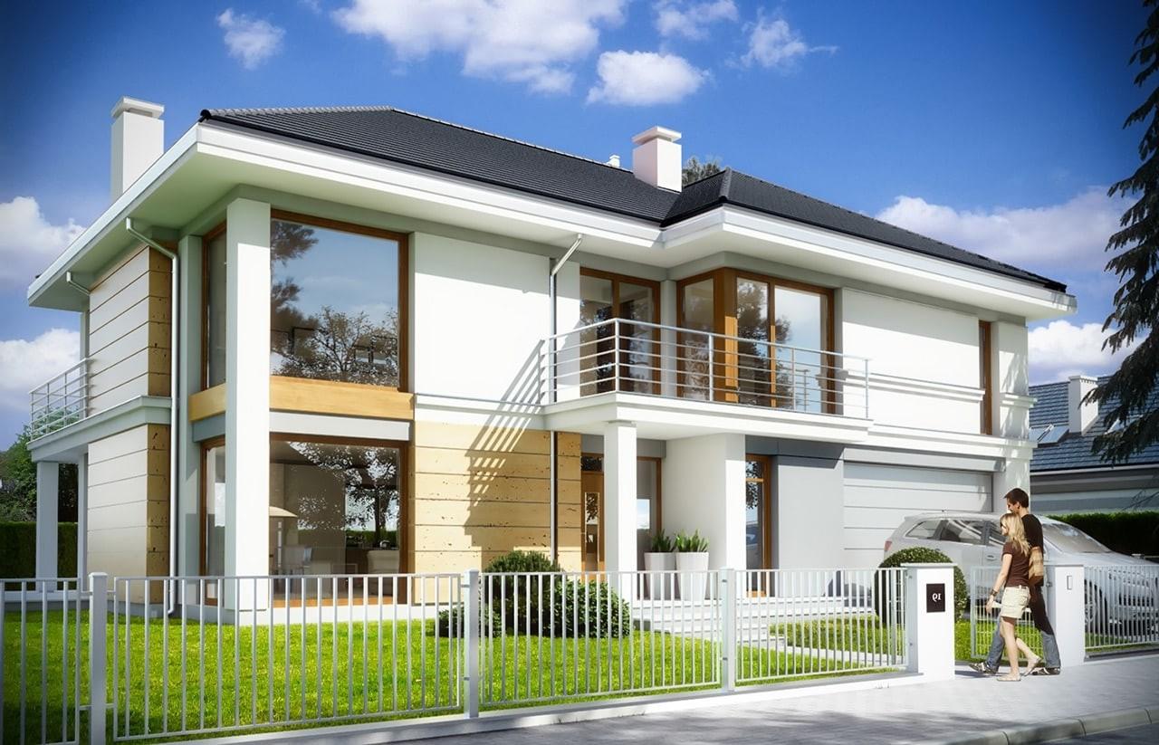 Projekt domu Riwiera 3 - wizualizacja frontowa odbicie lustrzane