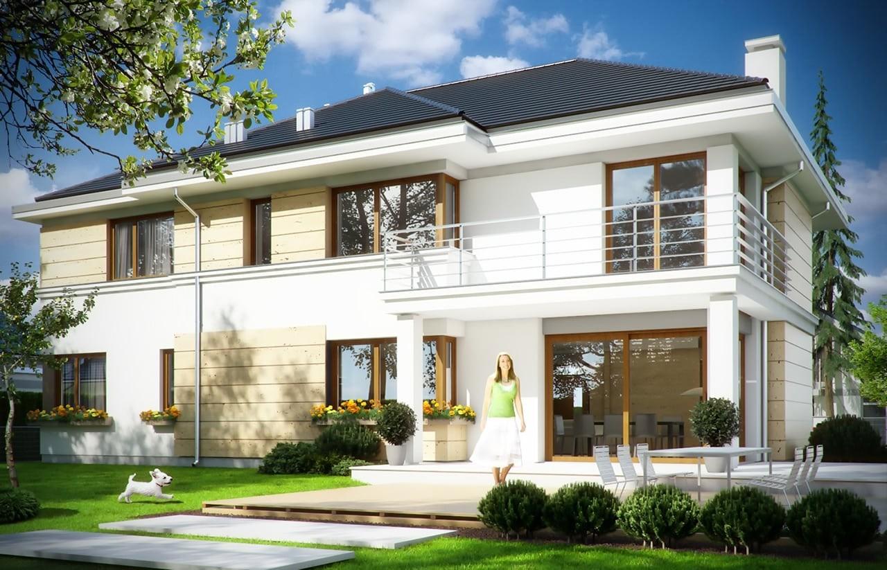Projekt domu Riwiera 3 - wizualizacja tylna odbicie lustrzane