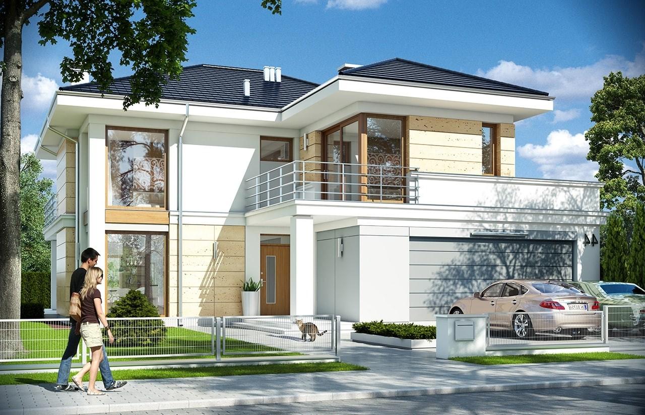 Projekt domu Riwiera 4 - wizualizacja frontowa odbicie lustrzane