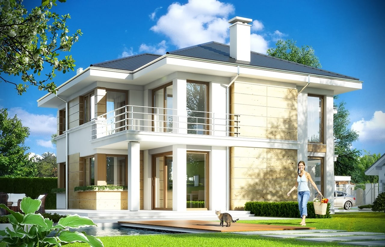 Projekt domu Riwiera 4 - wizualizacja tylna odbicie lustrzane