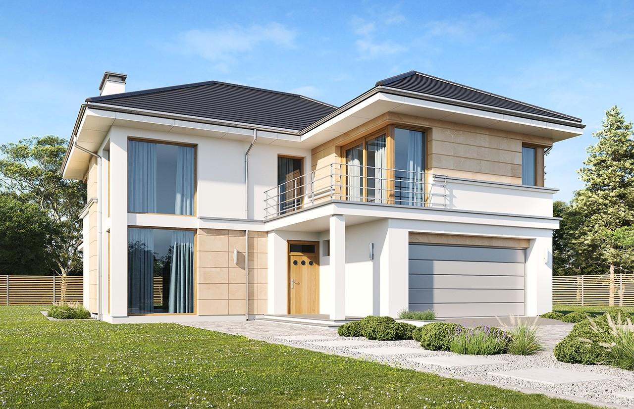 Projekt domu Riwiera 5 wariant B wizualizacja frontowa odbicie lustrzane