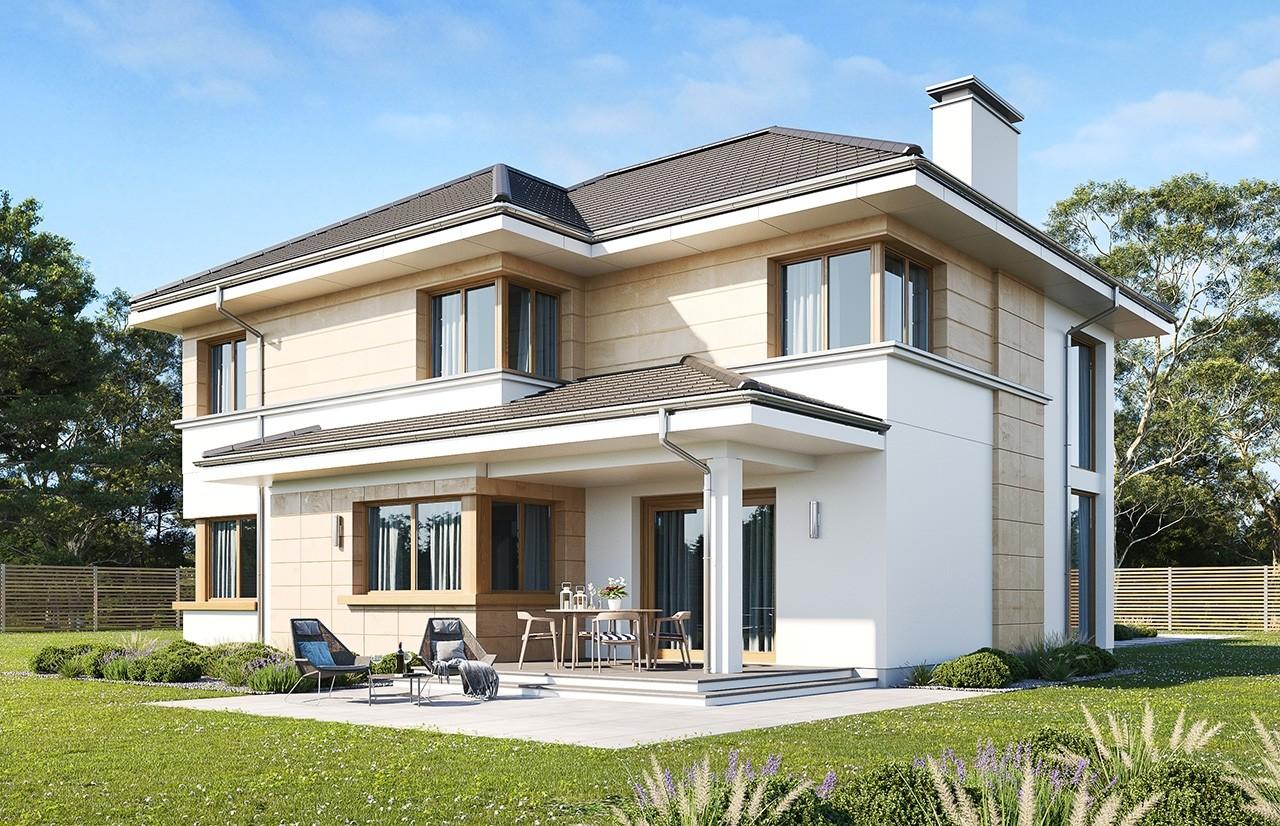 Projekt domu Riwiera 5 wariant B wizualizacja tylna odbicie lustrzane