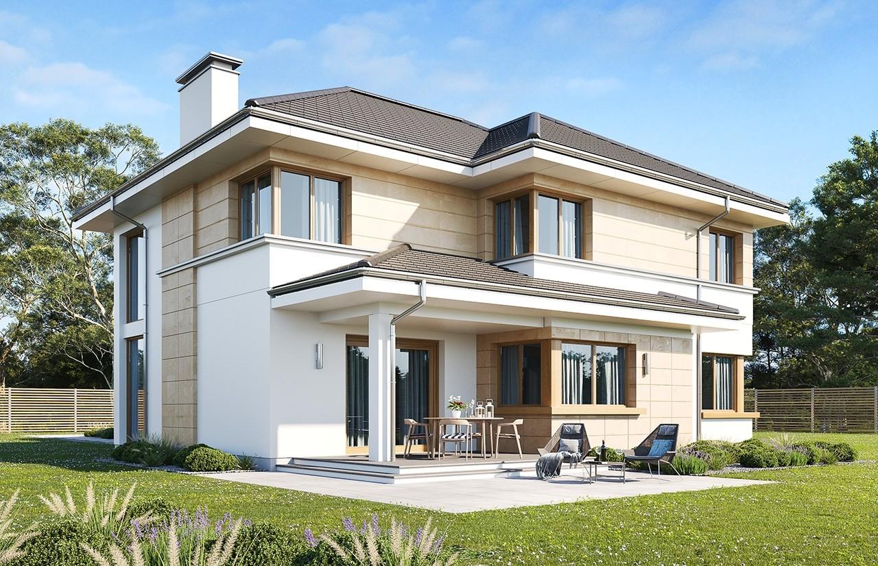 Projekt domu Riwiera 5 wariant B wizualizacja tylna