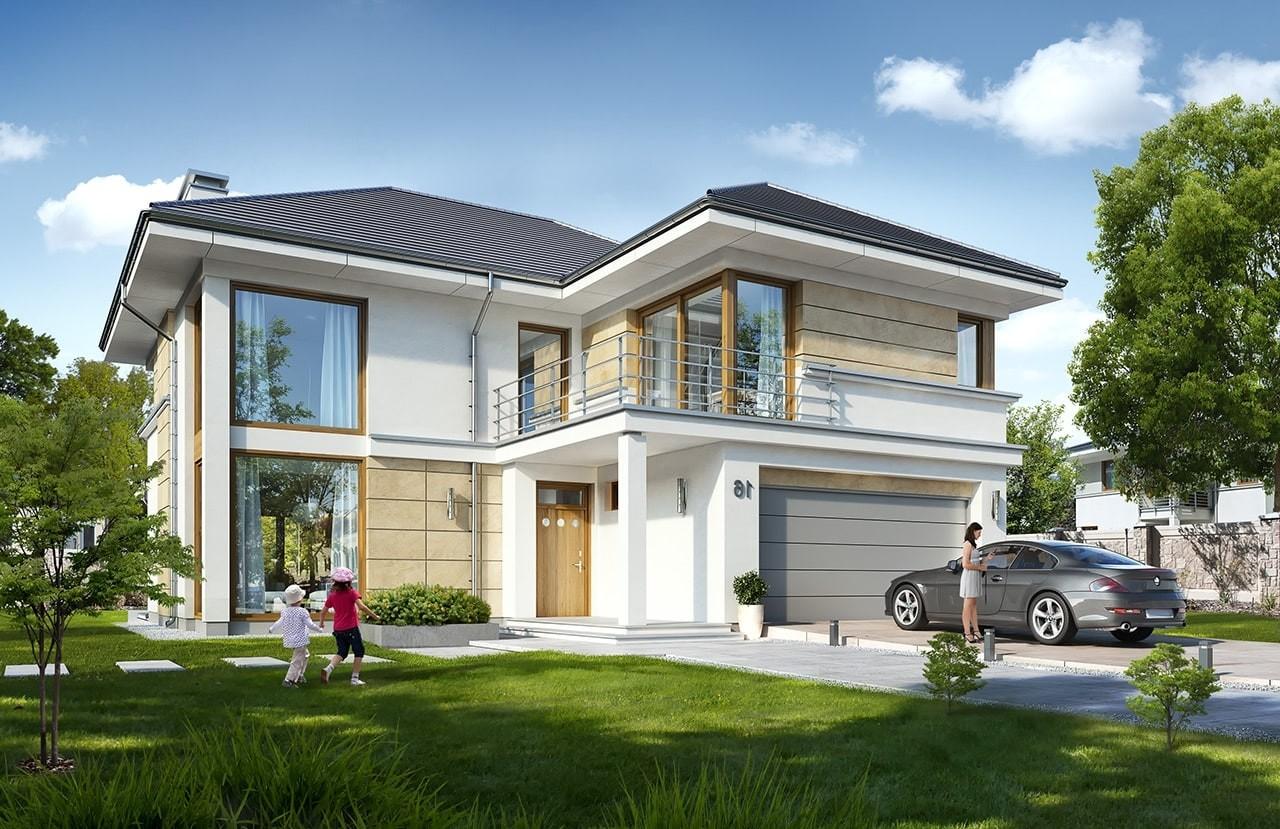 Projekt domu Riwiera 5 - wizualizacja frontowa odbicie lustrzane