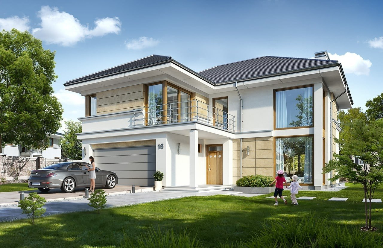 Projekt domu Riwiera 5 - wizualizacja frontowa