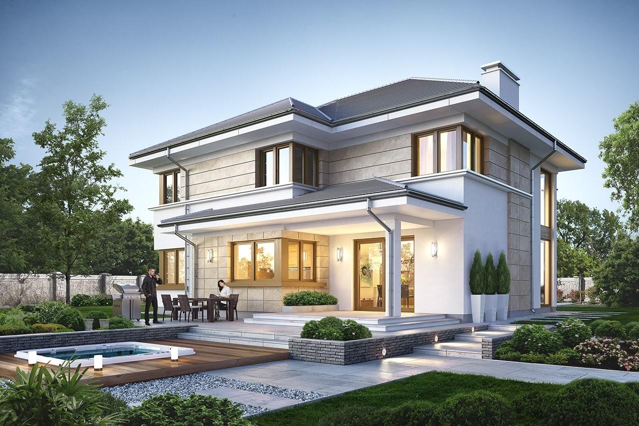 Projekt domu Riwiera 5 - wizualizacja tylna odbicie lustrzane