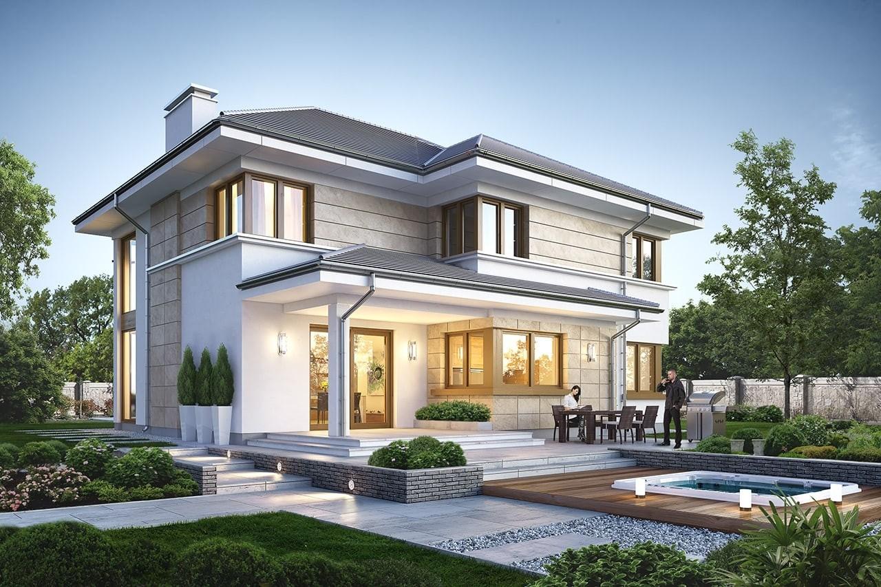 Projekt domu Riwiera 5 - wizualizacja tylna