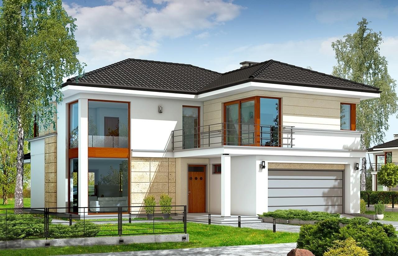 Projekt domu Riwiera - wizualizacja frontowa odbicie lustrzane