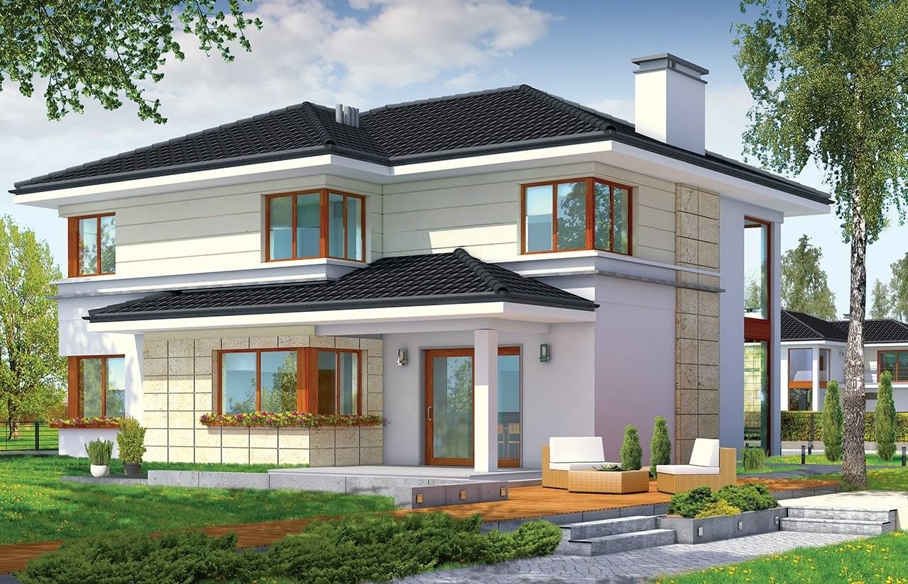 Projekt domu Riwiera - wizualizacja tylna odbicie lustrzane