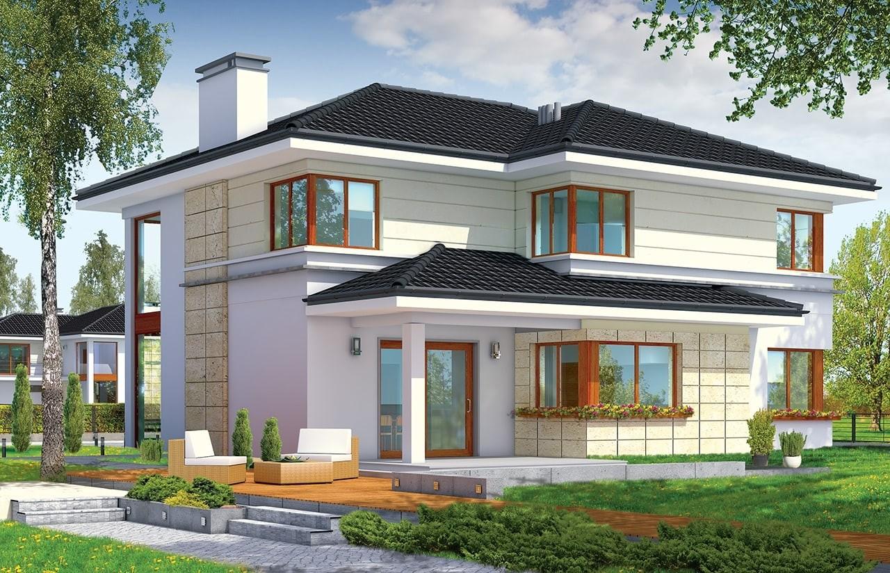 Projekt domu Riwiera - wizualizacja tylna
