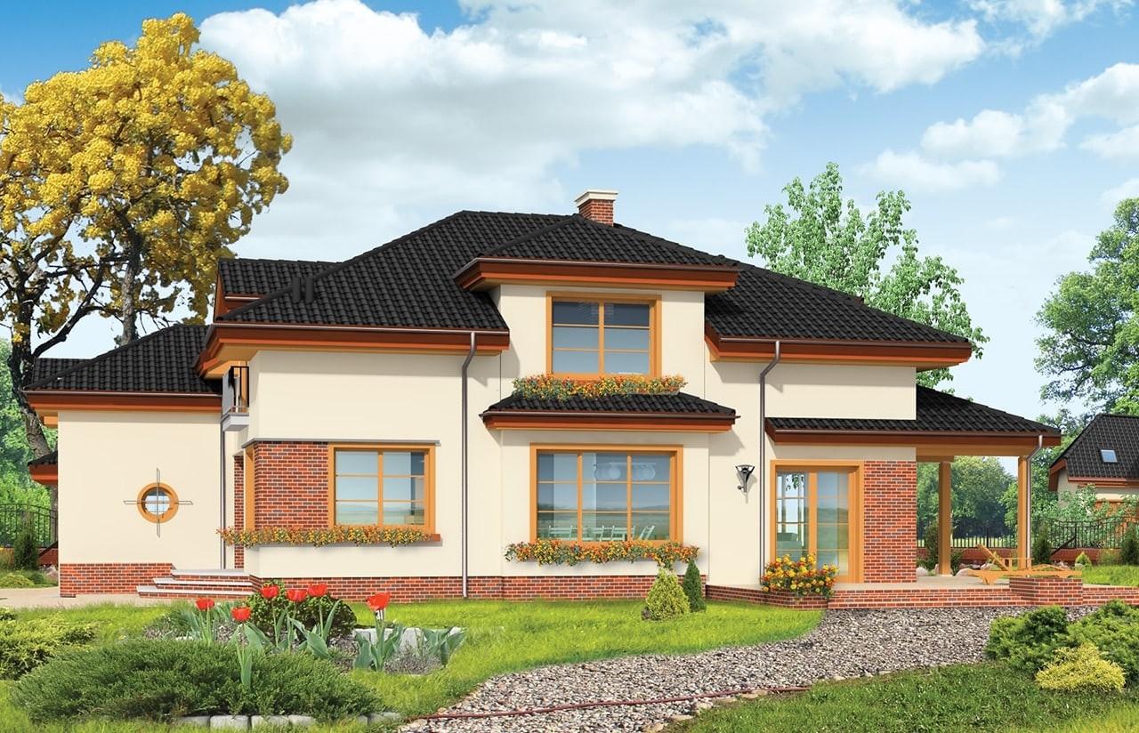 Projekt domu Rodzinny - wizualizacja tylna odbicie lustrzane