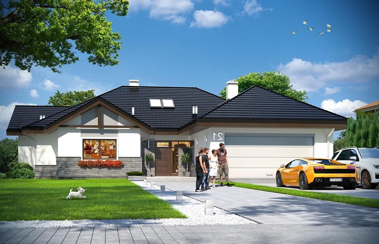 Projekt domu Rozłożysty 2 - wizualizacja frontowa odbicie lustrzane