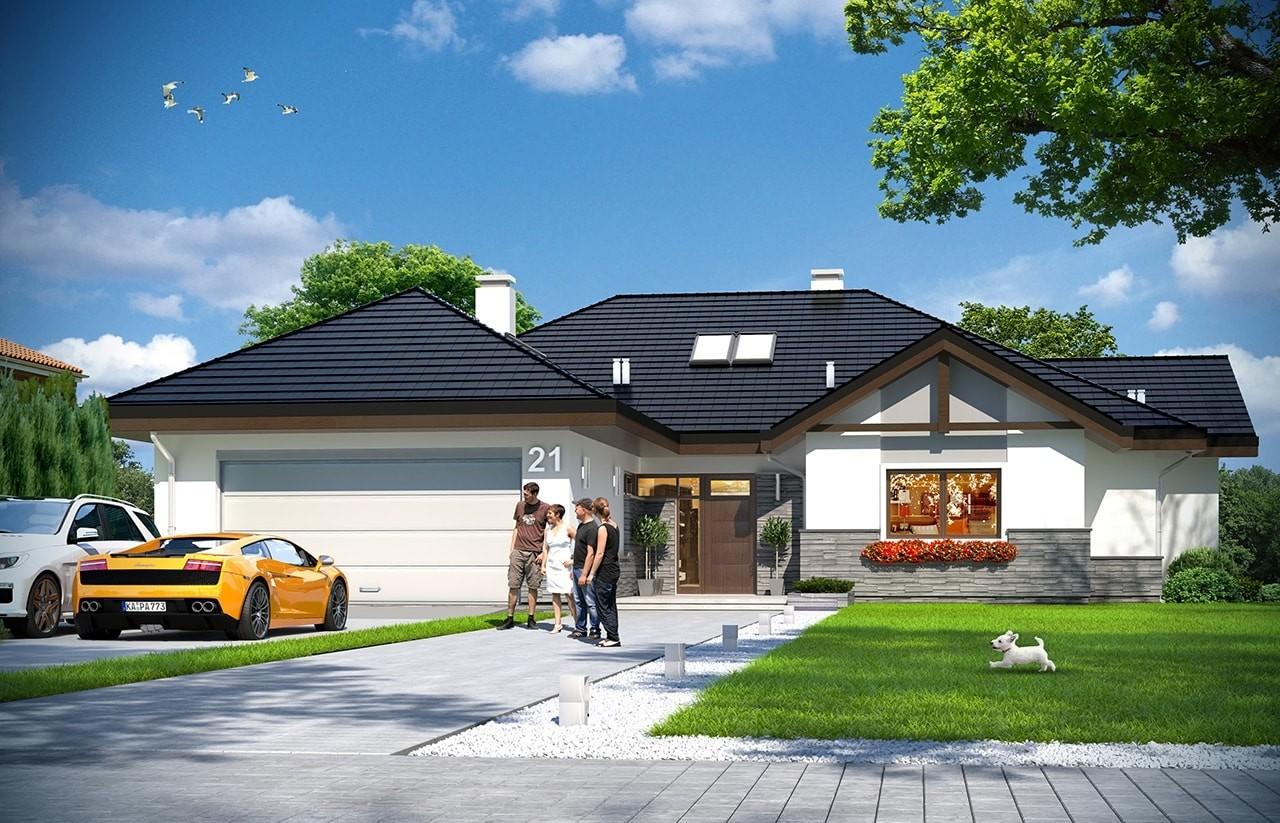 Projekt domu Rozłożysty 2 - wizualizacja frontowa